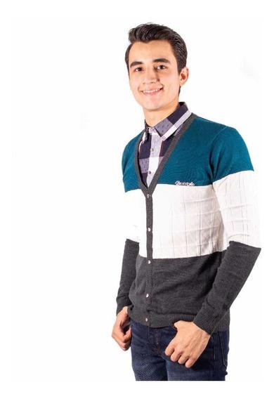 Sueter Con Media Camisa Frontal Integrada Moderno Blue 28832