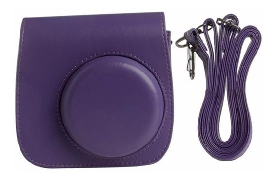 Bolsa Couro Sintético Alça - Câmera Instax Mini Roxa Púrpura