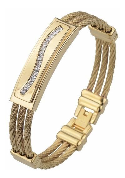 Pulseira Masculina Banhada Ouro 18k Com Strass Top Bracelete