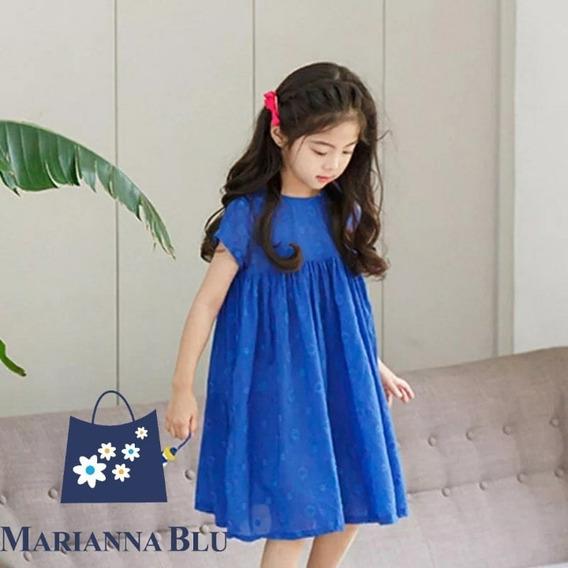 Vestido Azul De Algodón Para Niñas. Tallas Teen