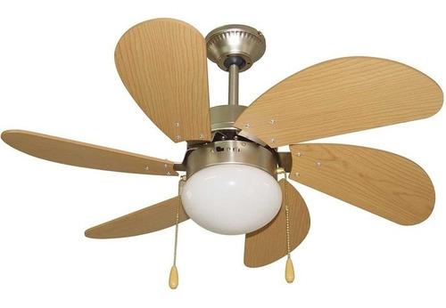 Ventilador De Techo Cuori 6 Aspas En Mdf Plafon Una Luz Nnet
