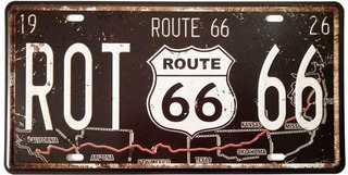 Placa De Matricula Decorativa Route 66 Diseño Retro
