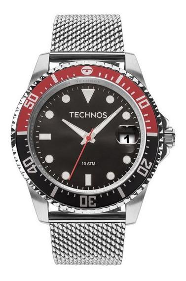 Relógio Masculino Technos Prata Skymaster Caixa Preta 2415cj