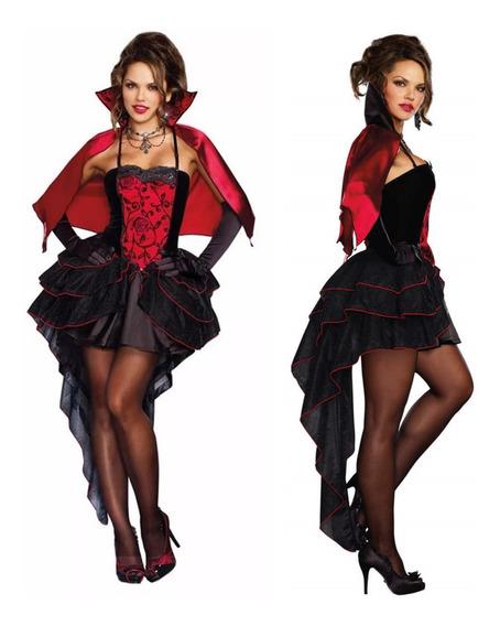 Fantasia De Vampira Adulto Bruxa Halloween Luxo Com Capa