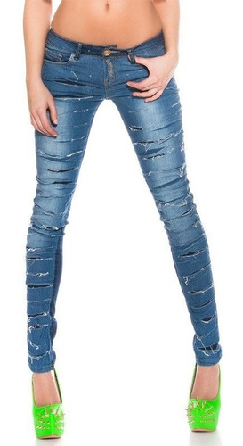 Jeans Koucla Mujer Skinny Ripped Rips Denim Azul-azuloscuro