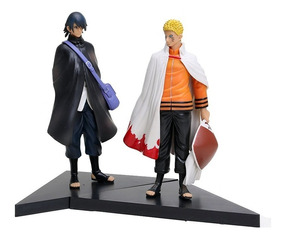 Kit 2 Figure Action Boneco Naruto Hokage + Sasuke Uchiha