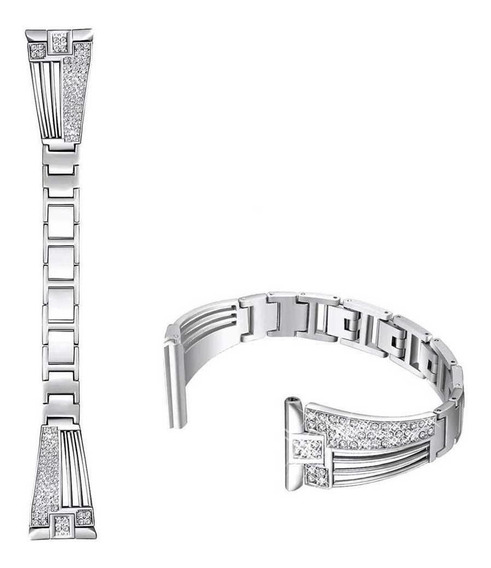 Substituição De Aço Inoxidável Strass Wrist Band Watch Strap