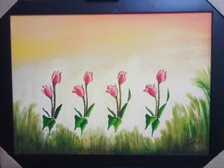 Quadro Flores Pintura A Óleo 50x 70