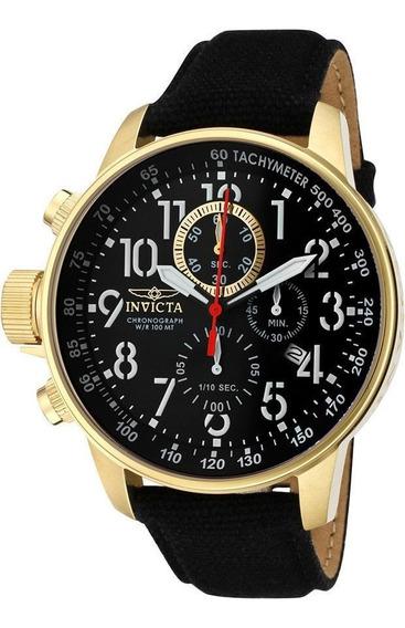 Reloj Invicta Lefty Chronograph Piel Negra Acero Oro 1515