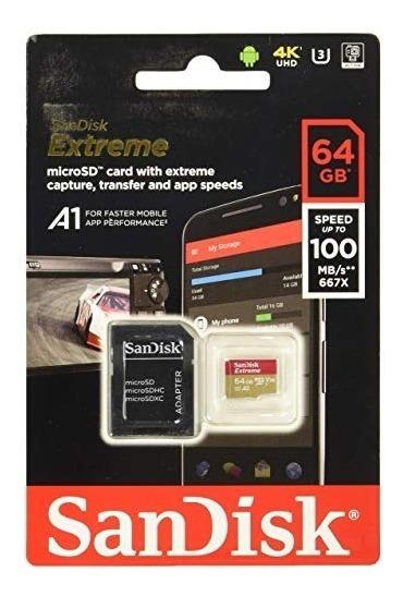 Memória Micro Sd Sandisk 64gb Extreme 95mb/s 663x U3 4k