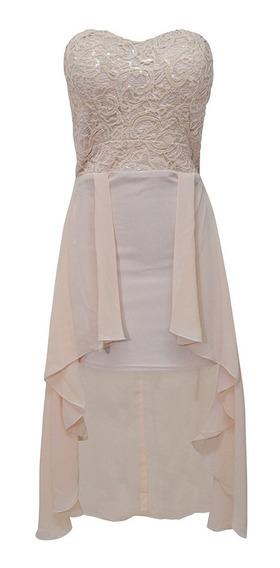 Vestido Strapless Largo Bordado Dama Mujer Beige 1451 Zoara