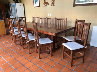 Juego De Mesa Quincho Con 12 Sillas De Algarrobo Laqueado