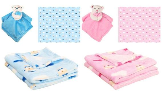 Naninha De Bebê E Manta Microfibra Urso Azul Ou Rosa