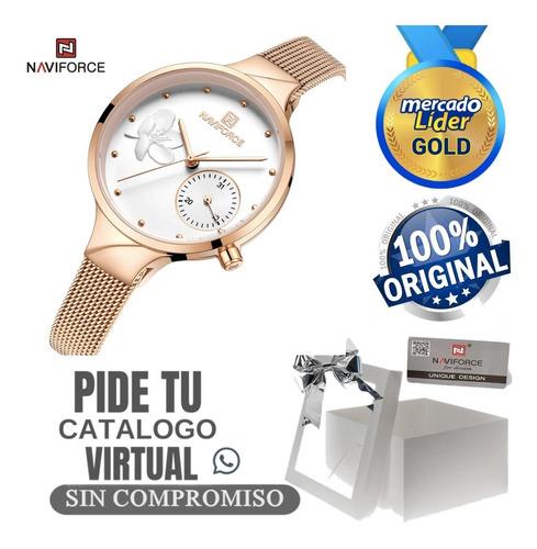 Reloj De Mujer Naviforce Original Acero Inoxidable Y Cuero