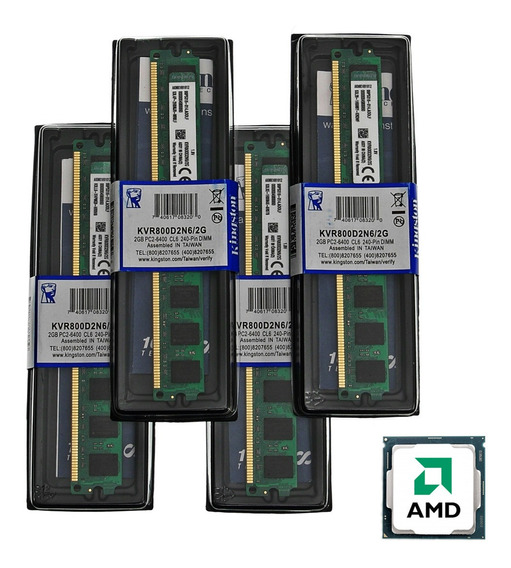 Kit 8gb 4x Memória Kingston Ddr2 2gb 800mhz Amd Nova Lacrada