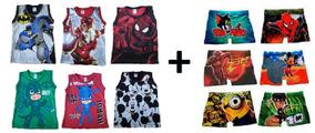 5 Camiseta Regata Infantil De Super Heróis+kit 5 Cuecas