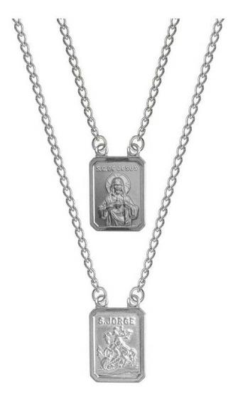 Escapulário De Aço Convex S.jorge X S C Jesus 14x11 2747960