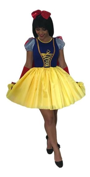Vestido Fantasia Princesa Branca De Neve Cute Adulto E Capa