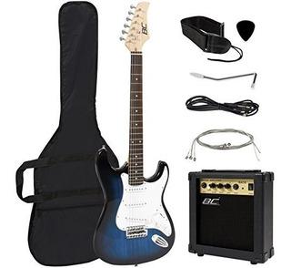 Tamaño Completo Azul Guitarra Electrica Con Caja De Amplif