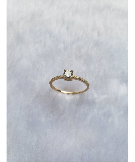 Anel Solitário Ouro 18k Zircônia 4mm