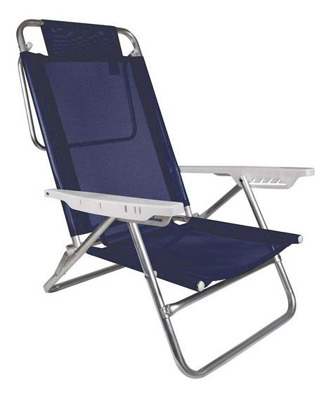 Cadeira De Praia Rec. 6 Posições Summer Azul Marinho Mor