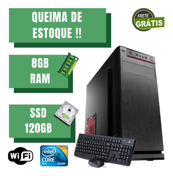 Cpu Montada Core 2 Duo 8gb Ram Ssd 120gb Win10 Brinde Oferta