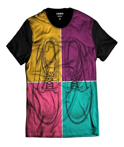 Imagem 1 de 2 de Camiseta Pop Rock Tênis Colorido Divertido Sapatos