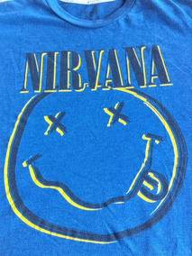 Playera Vintage Nirvana Logo Smiley Clasica Rock Cobain