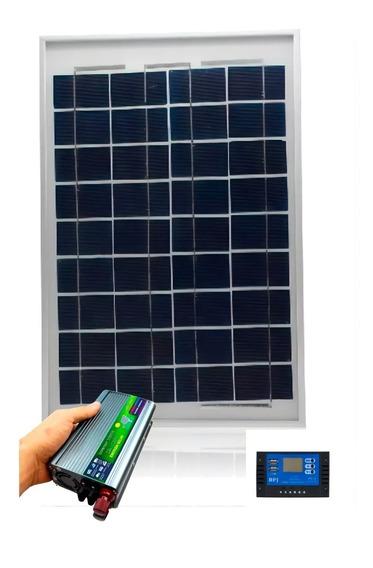 Kit Placa Painel Solar 30w Inversor Controlador 220 500w