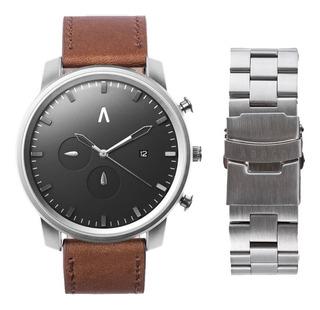 Reloj Hombre Sumergible Ejecutivo Cuero Marron Acero Abaco
