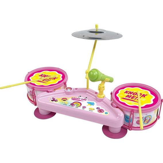 Bateria Musical Infantil Microfone Efeitos Karaoke Rosa