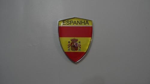 Escudo Auto-adesivo Cromado Resinado Espanha