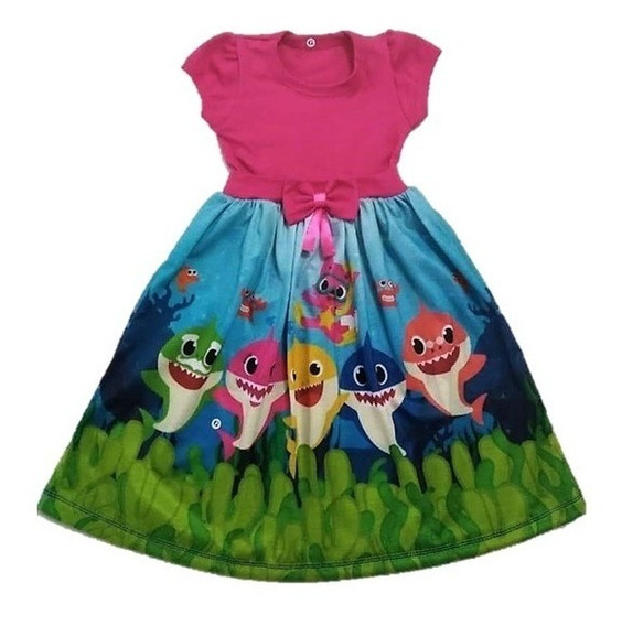 Vestido Infantil Baby Shark - Turbarão Malha Fantasia/roupa