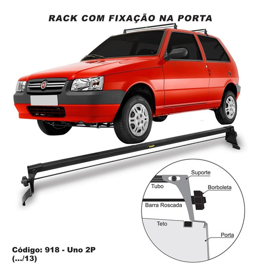 Rack De Teto Bagageiro Aço Fiat Uno 2 Portas 2008