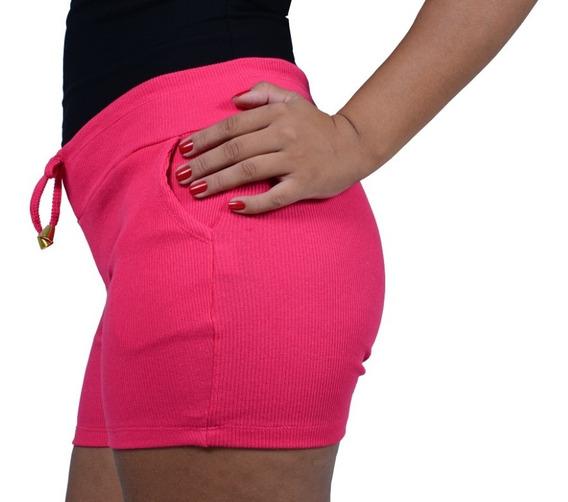 Kit 7 Shorts Bermuda Feminino Ribana (moletom Canelado)