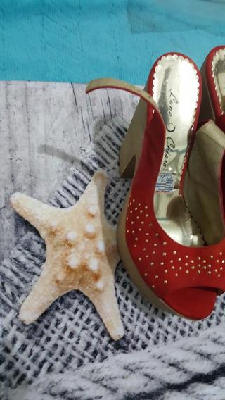 Zapatos De Plataforma Rojos Gamuzados Con Brillos 39/40