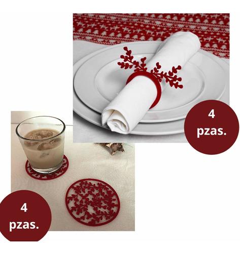 Imagen 1 de 10 de Servilleteros Y Portavasos Navidad - Otoño 8 Piezas 4 Y 4