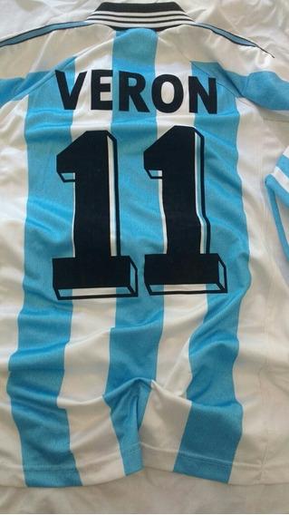 Camiseta Argentina #11 Js Veron Mundial 98