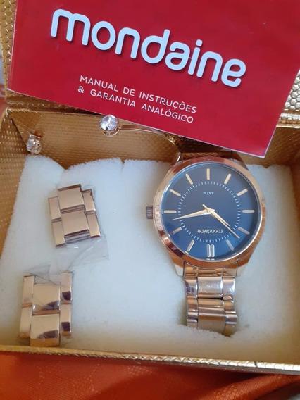 Relógio Mondaine Feminino Dourado Fundo Preto
