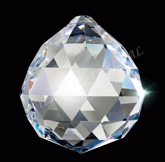 3 Esferas Bola Cristal Asfour Multifacetada 40mm Feng Shui