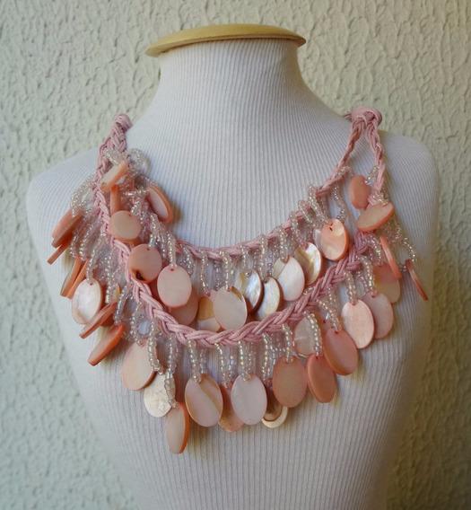 Colar Cordões Rosa Com Pedra Madrepérola Natural Style