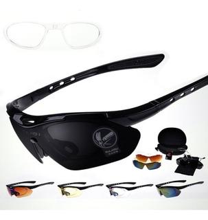 Oculos 5 Lentes Bicicleta Uv400 Suporte Grau Ciclismo Estojo