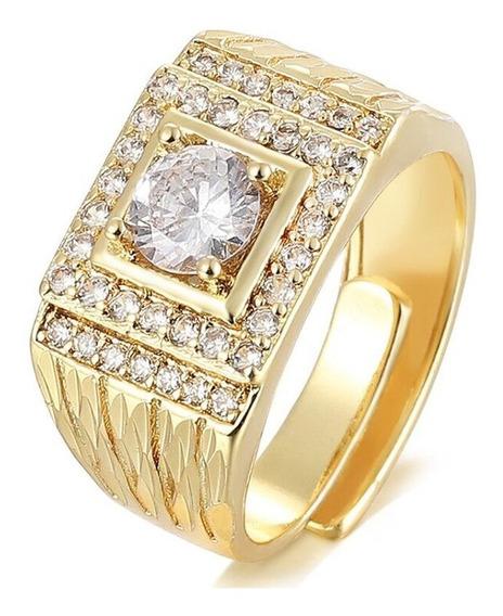 Anel De Luxo Fem Ajustável 3x Banhado A Ouro Grande Pedras