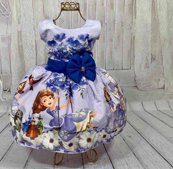 Vestido Temático Infantil Festa Princesa Sofia 1/6 Anos