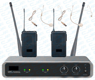 Micrófono Inalámbrico Uhf 2 Vincha Piel Audiosonic Maletin