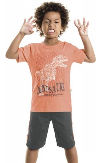 Conjunto Infantil Menino Roupa Verão Camiseta E Bermuda Dino