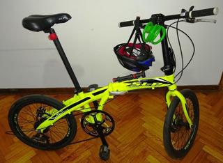 Bicicleta Plegable Slp Usada +casco +candado +inflador