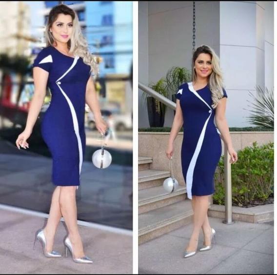 Vestido Midi Moda Evangelica Roupas Femininas Botão Bicolor