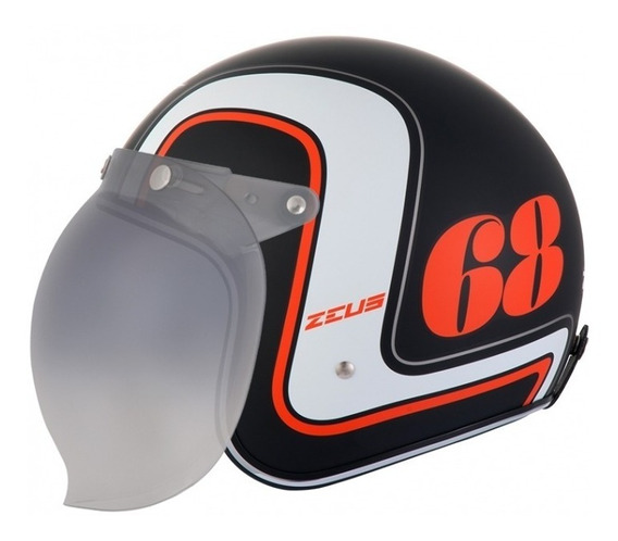 Capacete Zeus 380h Mat Black / K36 Orange