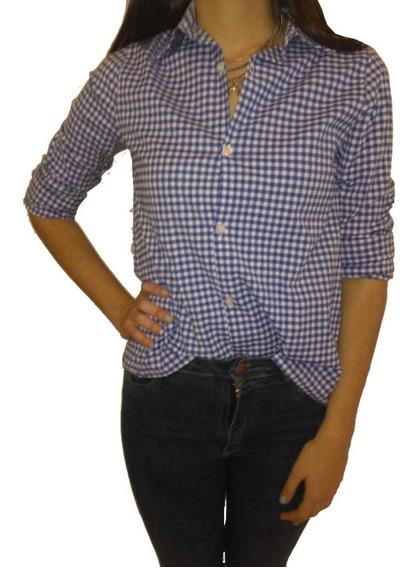 Camisa Dama Elastizada Entallada Cuadros Exc. Calidad
